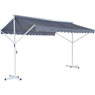 Outsunny Doppelmarkise mit Standfüßen grau 2,95 x 2,95 x 2,6 m (LxBxH) | Markise Gartenmarkise Sonnenschutz Standmarkise