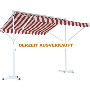 Outsunny Doppelstandmarkise mit Standfüßen weinrot, champagnerfarbe 2,95 x 2,95 x 2,6 m (LxBxH) | Doppelmarkise Gartenmarkise Standmarkise Markise