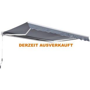 Outsunny Gelenkarmmarkise mit Handkurbel grau 3,5 x 2,5 m (BxL) | Kassettenmarkise Balkon Markise Sonnenschutz