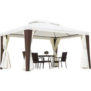 Outsunny Gartenpavillon inklusive Seitenteile weiß, braun 400 x 300 x 252 cm (LxBxH) | Polyrattan Gartenzelt Partyzelt Pavillon Zelt