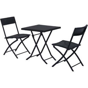 Outsunny Gartenmöbel als 3-teiliges Set schwarz | Polyrattan Gartenset Loungemöbel Balkonset