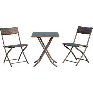 Outsunny Balkonmöbel als 3-teiliges Set kaffeebraun | Polyrattan Sitzgarnitur Gartenmöbel Gartenset