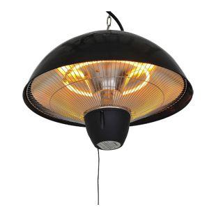 Outsunny Elektrischer Heizstrahler mit Zugseil schwarz, silber 40,5 x 30,5 cm (ØxH) | Terrassenstrahler Standheizstrahler Infrarotstrahler
