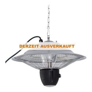 Outsunny Deckenheizstrahler inkl. Fernbedienung silber 42 x 26 cm (ØxH) | Heizstrahler Terrassenstrahler Wärmestrahler