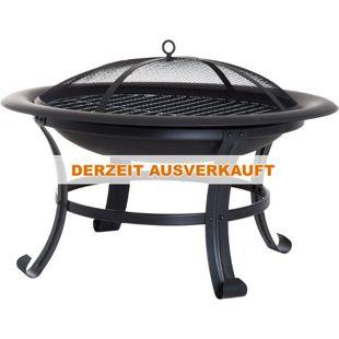 Outsunny Feuerkorb mit Funkenschutz schwarz 74 x 48 cm (ØxH)   Feuerschale Grillrost Feuerstelle Holzkohlegrill