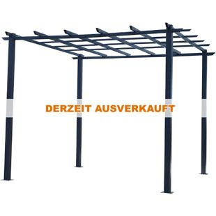 Outsunny Rosenpavillon schwarz 300 x 300 x 230 cm (LxBxH) | Pflanzbogen Rosenbogen Rankhilfe Pflanzgitter