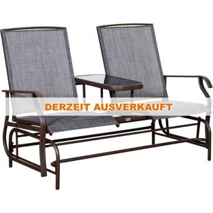 Outsunny Gartenbank mit Tisch grau, braun ca. 147 x 81 x 100 cm (LxBxH) | Schaukelbank Gartenschaukel Gartenstuhl Sitzbank