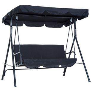 Outsunny Hollywoodschaukel als 3-Sitzer 172 x 110 x 152 cm (LxBxH) | Gartenschaukel Schaukelbank mit Dach Gartenmöbel