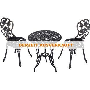 Outsunny Gartenmöbel als 3-teiliges Set schwarz | Gartenset Sitzgruppe Balkonset Balkongarnitur