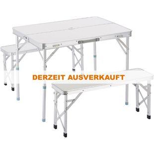 Outsunny Klapptisch inklusive 2 Bänke silber   Campingtisch Koffertisch Sitzgruppe Picknicktisch