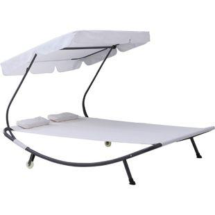 Outsunny Doppelliege mit Dach 200 x 170 x 134 cm (LxBxH) | Sonnenliege Duo-Relaxliege 2er-Liege mit Sonnendach