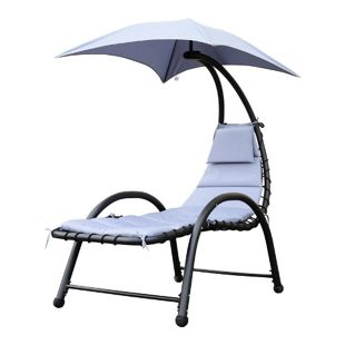Outsunny Relaxliege mit Sonnendach grau 195 x 100 x 202cm (LxBxH) | Sonnenliege Gartenliege Liegestuhl Relaxsessel