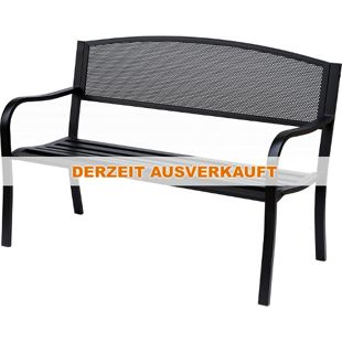 Outsunny Parkbank schwarz 127 x 60 x 85 cm (LxBxH) | Gartenbank Sitzbank 2-Sitzer Metallbank Gartenmöbel