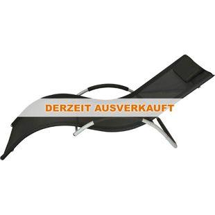 Outsunny Sonnenliege mit Kopfkissen schwarz 168 x 63 x 68 cm (LxBxH) | Relaxliege Strandliege Gartenliege Stoffliege