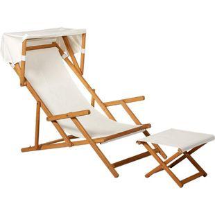 Outsunny Relaxliege mit Hocker und Sonnendach natur, weiß   Sonnenliege Gartenliege  Liegestuhl Gartenmöbel
