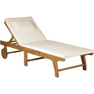 Outsunny Sonnenliege mit verstellbarer Rückenlehne natur, cremeweiß 197 x 72 x (34–84) cm (LxBxH)   Relaxliege Gartenliege Liegestuhl Gartenmöbel