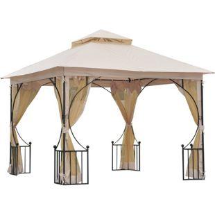 Outsunny Gartenpavillon mit Doppeldach beige, schwarz 300 x 300 x 275 cm (LxBxH) | Luxus Pavillon Partyzelt Festzelt Gartenzelt Zelt
