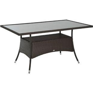 Outsunny Gartentisch mit zusätzlichem Stauraum kaffeebraun 150 x 85 x 74 cm (LxBxH) | Balkontisch Esstisch Glastisch Gartenmöbel