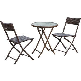 Outsunny Polyrattan Bistroset für 2 Personen braun | Balkonset Gartengarnitur Sitzgruppe Balkonmöbel