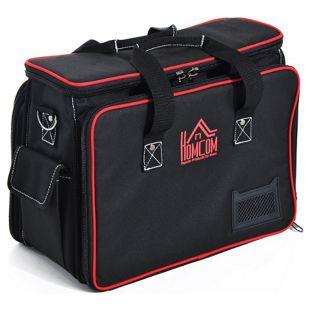 HOMCOM Werkzeugtasche mit Schultergurt schwarz, rot 38 x 20 x 31 cm (LxBxH) | Werkzeugkoffer Wergzeug Tasche mit Tragegurt