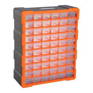 DURHAND Kleinteilemagazin mit 70 Fächer orange 38 x 16 x 47,5 cm (LxBxH) | Sortierkasten Box für Kleinteile Aufbewahrungsbox