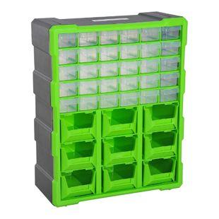 DURHAND Kleinteilemagazin mit 39 Fächer grün 38 x 16 x 47,5 cm (LxBxH) | Sortierkasten Box für Kleinteile Aufbewahrungsbox