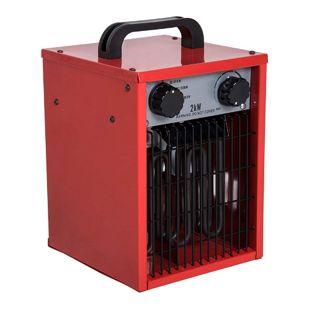 HOMCOM Bauheizer mit 3 Leistungsstufen rot 19,8 x 21 x 27,5 cm (LxBxH) | Heizlüfter Elektroheizung Heizgerät Bautrockner