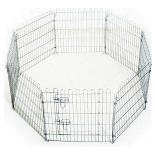 PawHut Welpenauslauf als 8-teiliges Set silber | Welpenzaun Freilaufgehege Laufstall Welpengitter