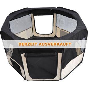 PawHut Welpen-Auslaufgehege faltbar schwarz, cremig-weiß 114 x 114 x 58 cm (LxBxH) | Welpenauslauf Laufstall Welpenzaun Freilaufgehege