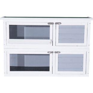 PawHut Kaninchenkäfig mit 2 Etagen grau, weiß 125 x 49 x 83 cm (LxBxH) | Hasenstall Hasenkäfig Doppelstall Kaninchenstall
