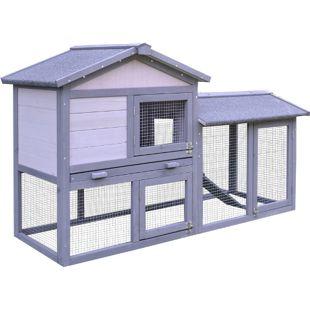 PawHut Kaninchenstall mit Freilauf grau, weiß 147 x 54 x 84 cm (LxBxH) | Kaninchenhaus Hühnerstall Stall für Meerschweinchen
