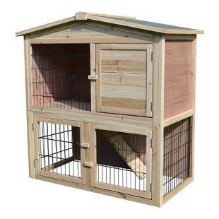 PawHut Kaninchenstall mit Freilauf natur 98 x 54 x 100 cm (LxBxH) | Hasenkäfig Kaninchenhaus Meerschweinchenstall