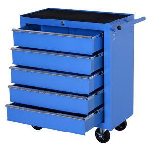 HOMCOM Fahrbarer Werkstattwagen mit 5 Schubladen blau 67,5 x 33 x 77 cm (BxTxH ohne Räder)   Mobiler Werkzeugwagen Werkzeugkasten Rollwagen