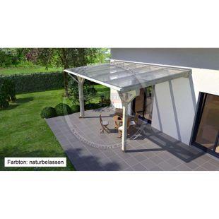 REXOcomplete 306 x 250 cm Terrassendachbausatz mit Holzunterkonstruktion Mahagoni