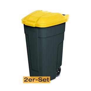 BRB Mülltonne 100 Liter VE: 2 Stück, anthrazit/gelb