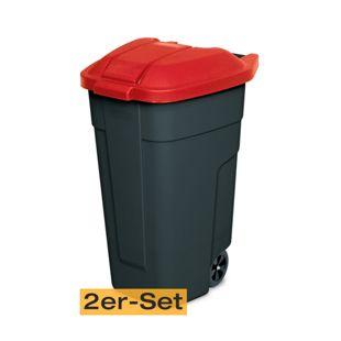 BRB Mülltonne 100 Liter VE: 2 Stück, anthrazit/rot