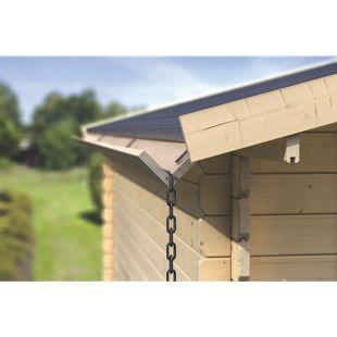 Karibu Holzdachrinnenset 2 x 3 Meter für Satteldächer, Verlängerungspaket kdi