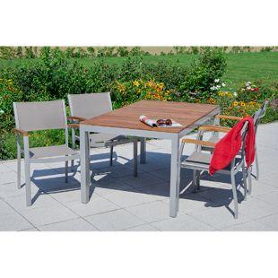 Merxx Tischgruppe Naxos 5tlg. mit Stapelsessel und Standard Tisch