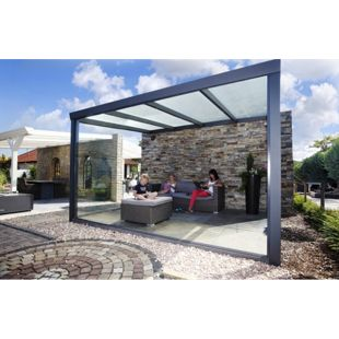 VP Trading Terrassenüberdachung 300x250 anthrazit aus Aluminium inkl. Statik und Polycarbonat Dacheindeckung