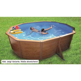 KWAD Stahlwandbecken-Set Steely-Set des Luxe Wood oval 4,9 x 3,6 x 1,2 m