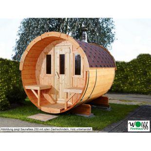 Wolff Finnhaus Saunafass 250 komplett montiert, schwarze Dachschindeln