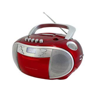 Soundmaster SCD6900RO CD Boombox mit UKW/MW Radio und Kassettenplayer - rot