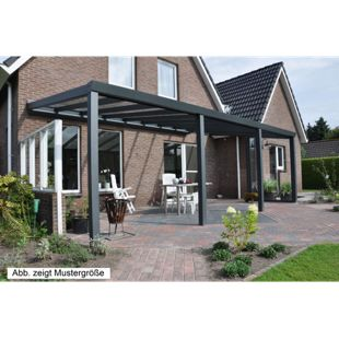 VP Trading Terrassenüberdachung 400 x 400 aus Aluminium, inkl. Statik und VSG-Glas-Eindeckung