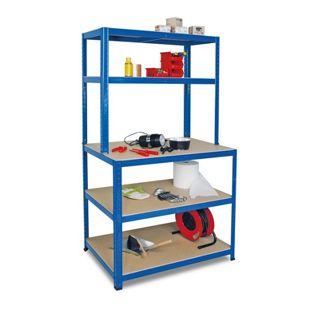 BRB 74221 Arbeits- und Packtisch, blau - 90 x 180 x 40/60 cm