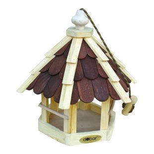 Dobar Futterhaus mit lasierten Holzschindeln (braun), Spitzdach, inkl. Kordel