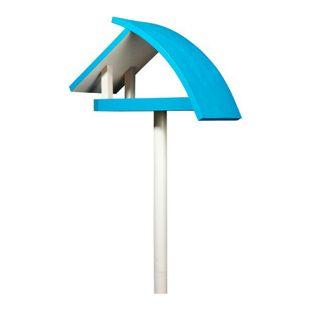 """Design-Vogelfutterhaus """"New Wave"""" in weiß mit blauem Dach, inkl. Ständer"""