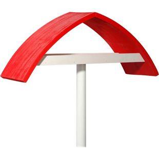 """Design-Vogelfutterhaus """"New Wave"""" in weiß mit rotem Dach, inkl. Ständer"""