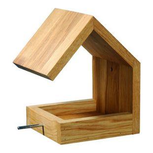 Eiche-Futterhaus mit Satteldach und Anflugstange