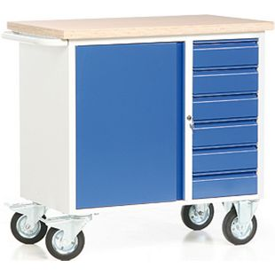 Protaurus ROTAURO Fahrbare Werkbank mit 1 Schrank und 6 Schubladen