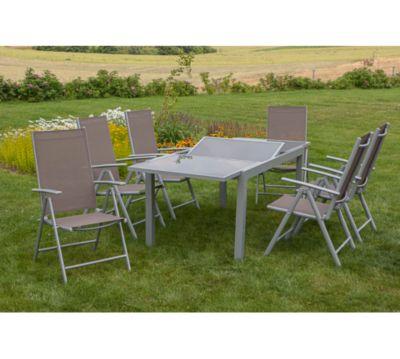 Merxx Tischgruppe Amalfi 7 Tlg Taupe Tisch 160 220 X 90
